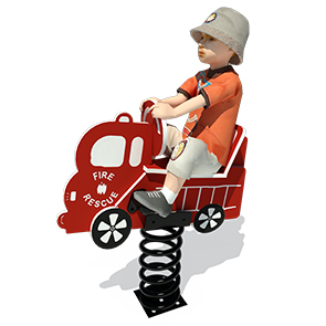 Model PGC-RFT | Single Seat Fire Truck Spring Rider Playground Component