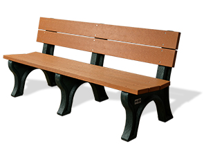 Model PL6-P | Recycled Plastic Personalized Benches with Back (Cedar)