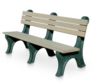 Model PLC6WB-P | 6' Classic Recycled Plastic Personalized Bench with Backrest (Sand/Green)