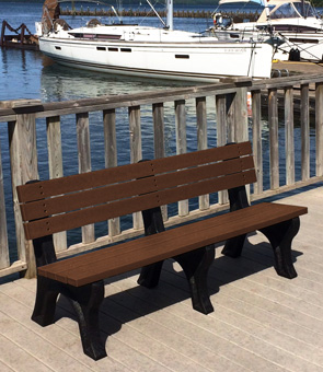 Model PLD6WB-P | 6' Recycled Plastic Bench with Back