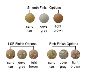 LSB Finish Options, Etch Finish Options, Perma Stone Finish Options, Dura Brite Finish Options