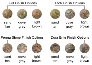 Smooth Finish Options, LSB Finish Options, Etch Finish Options, Perma Stone Finish Options, Dura Brite Finish Options