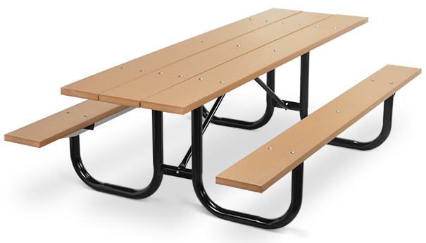 Model PMB-8PCE | Park Master 8ft. Recycled Plastic Picnic Table with Black Enamel Frame (Cedar)