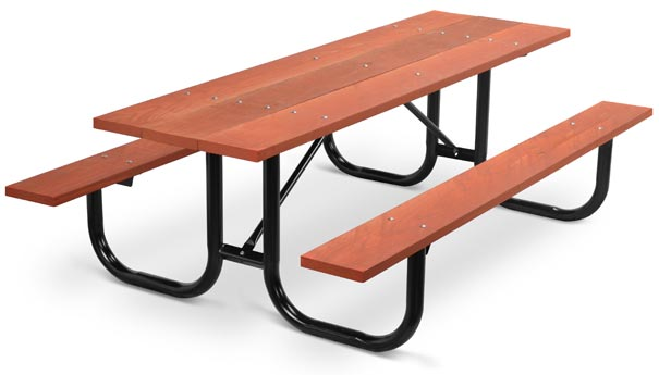 Model PMB-8WR | Park Master 8ft. Redwood Stained Southern Yellow Pine Picnic Table with Black Enamel Frame