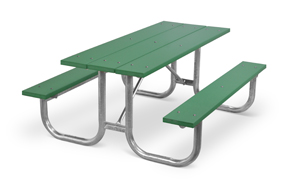 Model PMG-6PGN | Park Master 6ft. Recycled Plastic Picnic Table with Hot-Dipped Galvanized Frame (Green)