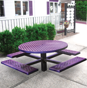 Model PPC-4PS | Round Single Pedestal Picnic Table | In-ground Mount (Purple)