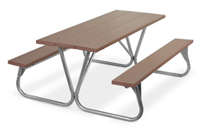 Model PR-6PBM | Park Ranger 6ft. Recycled Plastic Picnic Table with Galvanized Frame (Brown)