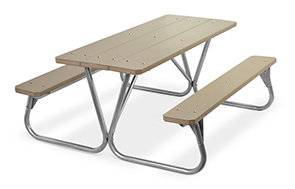 Model PR-6PWW | Park Ranger 6ft. Recycled Plastic Picnic Table with Galvanized Frame (Weathered Wood)