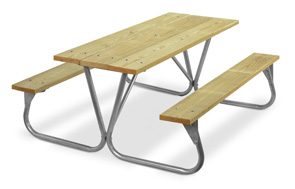Model PR-6WA | Park Ranger 6ft. MCA Treated Picnic Table with Galvanized Frame