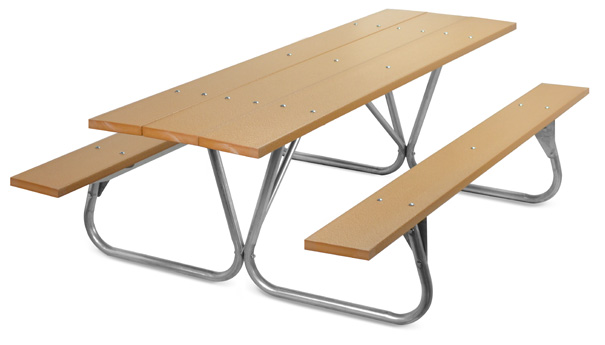 Model PC-8PCE | Park Ranger 8ft. Recycled Plastic Picnic Table with Galvanized Frame (Cedar)