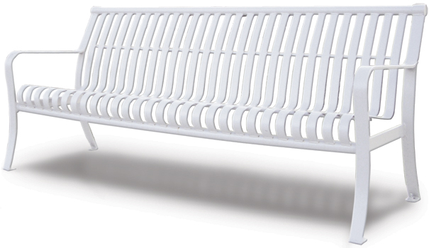 Model PS6 | Ribbed Steel Park Bench | Premier Serenity Style (White)