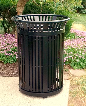 Model PSFT34 | 34 Gallon Powder-Coated Steel Trash Receptacles