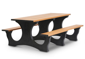 Model PTEA6 | 6' Recycled Plastic Picnic Table with 3 One-Piece Molded Legs