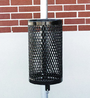 Model R10TR | 10 Gallon Expanded Steel Pole Mounted Trash Receptacle (Black)