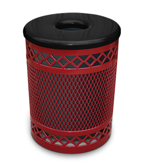 Model R32DR | Thermoplastic Coated Trash Receptacle w/Flat Top Cover & Rigid Liner (Red/Black)