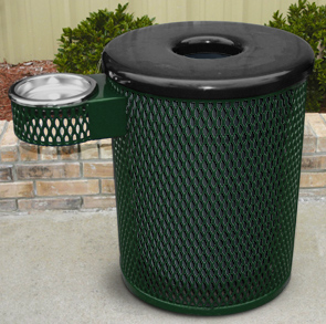 Model R32TR | Expanded Steel Trash Receptacle with Ash Urn Attachment, Flat Top Lid and Liner (Green)