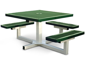 Model R463P-P | Thermoplastic Coated Square Portable Pedestal Table (Green/White)