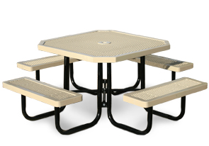 Model R468-P | Portable Octagon Picnic Table | Traditional Style (Green/Black)