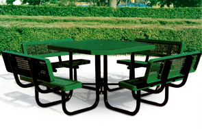 Model R468-WB-P | Portable Octagon Picnic Table | Traditional Style (Clay/Black)
