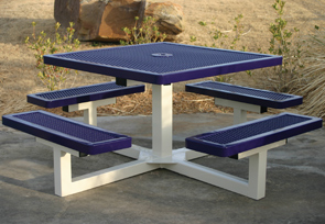Model R46P-P | Thermoplastic Coated Square Portable Pedestal Table (Blue/White)