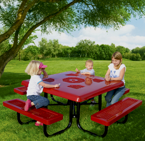 Thermoplastic Coated Square Pinic Table for Kids with Semi-Solid Table Top