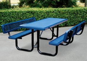 Model R6-WB-P | 6' Thermoplastic Coated Picnic Table with Backrests (Lt. Blue/Black)
