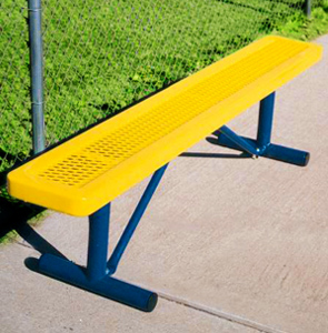 Model R6NB-P | Expanded Steel Park Style Benches (Yellow/Mystic)