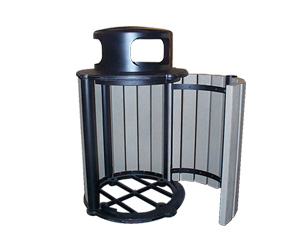 Model RB32-R-ST | 32 Gallon Round Recycled Plastic Trash Receptacle (Open) (Cedar/Black)