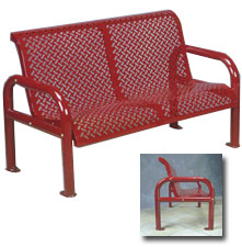 Model RB4CSS | Perforated Steel Bench with Back (Red)
