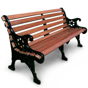 Model RBP-60-R | Recycled Plastic Renaissance Bench (Black Frame)