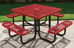 Model RL46-P | Square Picnic Table | Leisure Series (Red/Black)