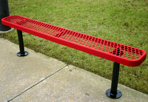 Model RL6NB-S | Leisure Series 6' Backless Park Bench (Red/Black)
