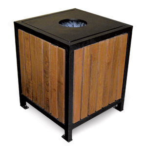 Model RLP20 | Wood Litter Receptacle | Regency Style (Cedar/Black)