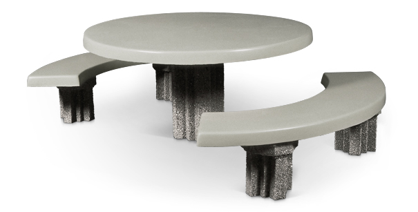 Model RND-5F-CUS1 | Round Concrete Picnic Table with Detached Seats