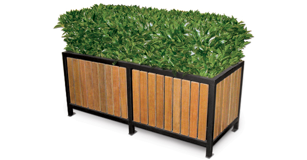 Model RPP60 | Wood Slat Planters | Regency Style (Cedar/Black)