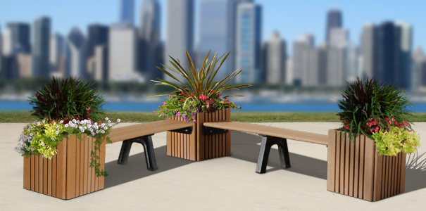 Modular Recycled Plastic Planter Bench