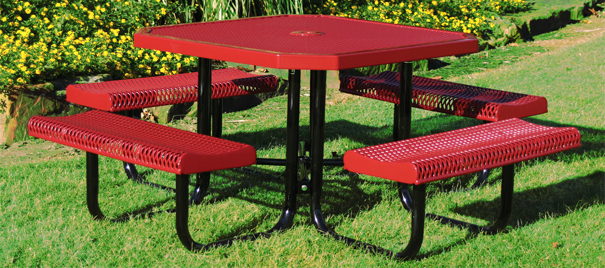 Model RR468-P | Octagon Outdoor Table | Expanded Rolled Style (Red/Black)