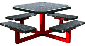 Model RR468P-P | Octagon Outdoor Tables | Expanded Rolled Style (Black/Red)