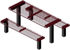 Model RR6-IP | Thermoplastic Coated Rectangular Rolled Picnic Tables (Burgundy/Black)