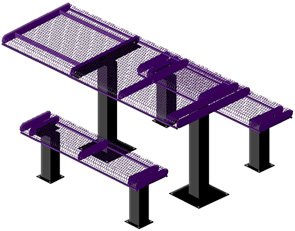 Thermoplastic Coated Rectangular Rolled Picnic Tables (Purple/Black)
