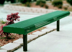 Model RR6NB-I | 6 ft. Thermoplastic Coated Rolled Expanded Metal Outdoor Bench without Back (Green/Black)