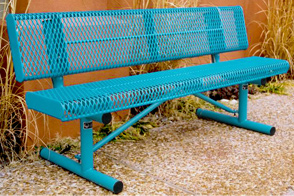 Model RR6WB-P | 6 ft. Rolled Expanded Metal Outdoor Benches with Back (Lt. Blue/Lt. Blue)