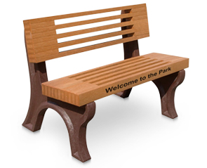 Elite Outdoor Park Bench with Optional Custom Engraved Message