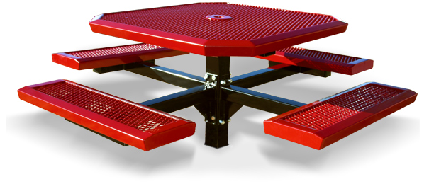 Model RSL46-I | Octagonal Picnic Tables | Traditional Comfort Style (Red/Black)