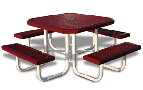 Model RSL46-P | Octagon Outdoor Tables | Traditional Comfort Style (Red/White)