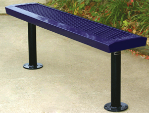 Model RSL4NB | Thermoplastic Coated Expanded Steel Park Benches (Purple/Black)