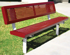 Model RSL6WB-I | Thermoplastic Coated Expanded Steel Park Benches (Red/White)