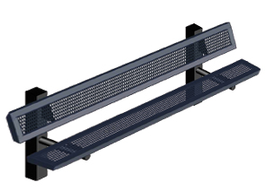 Model RSL6WB-IP | 6' Thermoplastic Coated Bench (Mariner/Black)