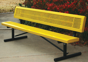Model RSL6WB-P | Thermoplastic Coated Expanded Steel Park Benches (Yellow/Black)