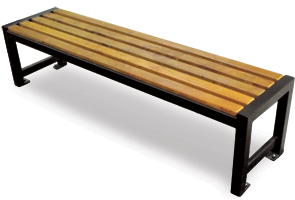 Model RSPSB6 | Wood Slats Backless Park Benches | Regency Style (Pau Lopé/Black)